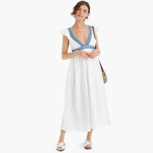 XS - J Crew White Ruffle Deep V-neck linen dress.
